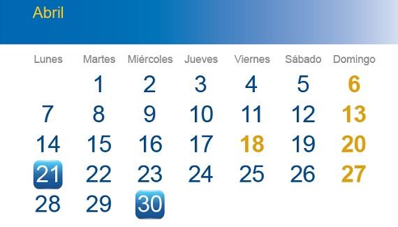Calendario del contribuyente de abril 2014. Fuente: Agencia Tributaria