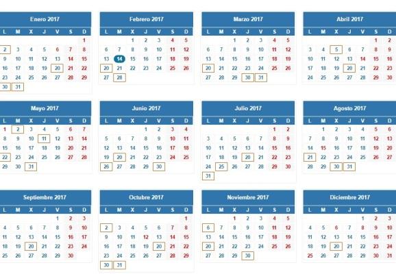 Calendario 2017 renta